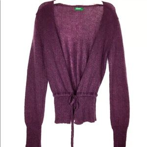 UNITED COLORS OF BENETTON Cranberry Wool Cardigan